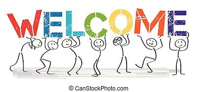 lettere, colorito, persone, grande, benvenuto, -, insieme