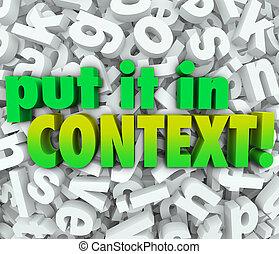 lettere, context, esso, comprensione, parole, mettere, ...