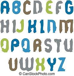 lettere, d, colorito, set, hand-drawn, manoscritto, luminoso, vettore, capitale