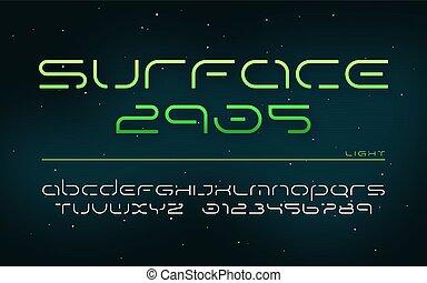 lettere, fantascienza, alfabeto, maiuscolo, numbers., tecnologia, futuristico