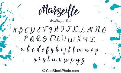 lettere, font., mano, vettore, alphabet., disegnato, calligrafia, scritto mano