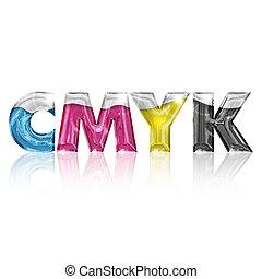 lettere, isolato, cmyk, fondo, bianco, trasparente