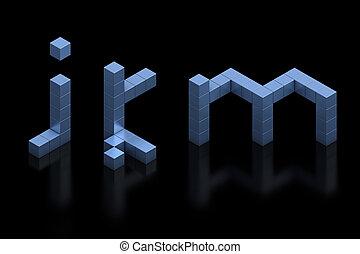 lettere, k, j, m, font, cubico, 3d