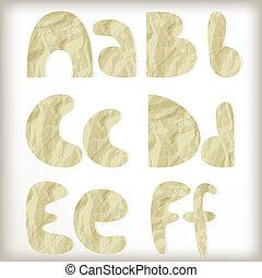 lettere, lamina, set, vettore, dorato, taglio