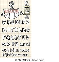 lettere, mano, disegnare, elemento