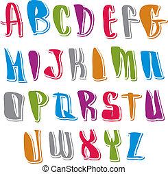 lettere, manoscritto, alfabeto, calligraphic, set, vettore, ...