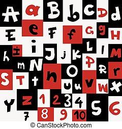 lettere, numeri, fondo
