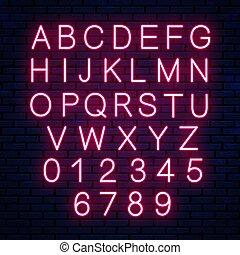 lettere, parete, neon, isolato, fondo., luminoso