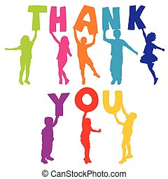 lettere, ringraziare, silhouette, presa a terra, lei, bambini
