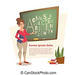 lettere, scritto, asse, femmina, dove, insegnante, mostra