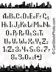 lettere, verticale, alfabeto, scatole, vettore, numeri, inglese, orizzontale