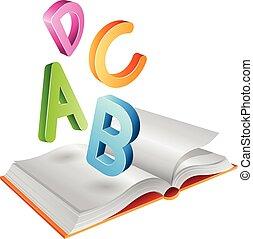 lettere, volare, libro aperto
