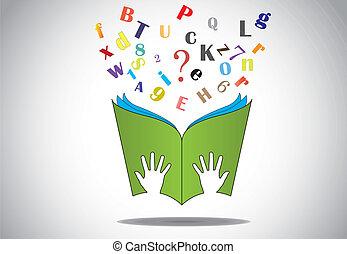 lettere, volare, mano, libro, presa, aperto