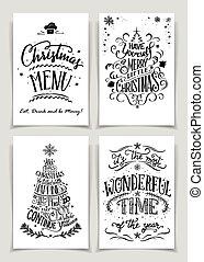 lettered, satz, weihnachten, gruß- karten, hand