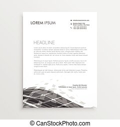 letterhead design with abstract black wave effect