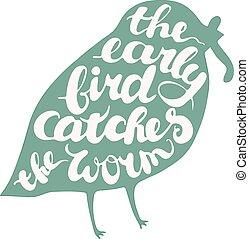 letterig, komponování, ptáček