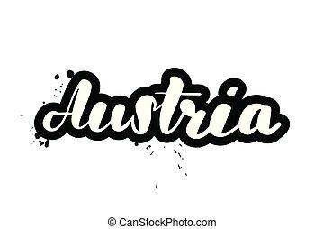 lettering, áustria, escova