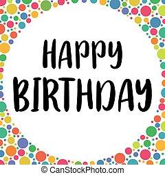 lettering., χαιρετισμός , γενέθλια γιορτή , handwritten , birthday., card., σχεδιάζω , φόρμα , ευτυχισμένος
