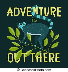 Lettering Adventure is out there and cute lemur on the branch