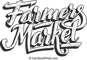 lettering, agricultores, isolado, mão, branca, mercado