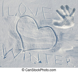 lettering, amor, inverno, neve