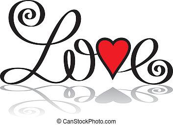 lettering, amor, mão