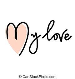 lettering, amor, meu, mão