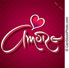 lettering, amore, (vector), mão