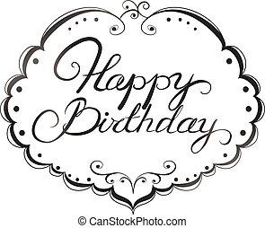 lettering, aniversário, feliz