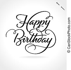 lettering, aniversário, feliz, mão