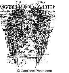 lettering, asa, fundo, escudo