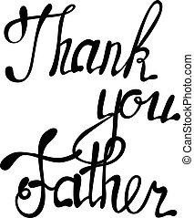lettering, bedankt, vader