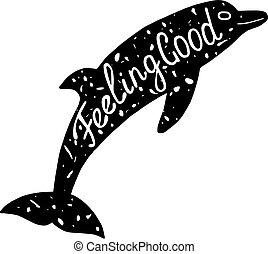 lettering, bom, sentimento, golfinho
