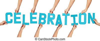 lettering, branca, celebração
