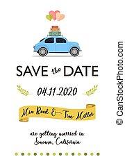 lettering, car, retro, data, salvar, balões, cartão
