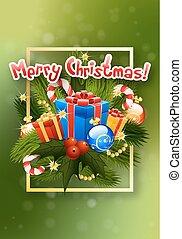 lettering., card., groet, kerstmis
