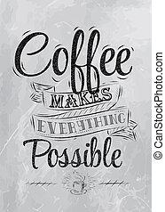 lettering, cartaz, café, faz, carvão