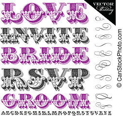 lettering, casório, vetorial, vindima