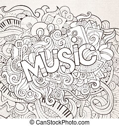 lettering, communie, hand, achtergrond., muziek, doodles