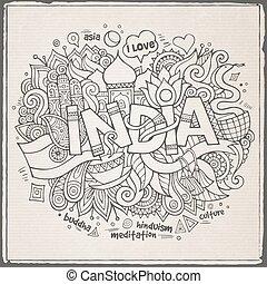 lettering, communie, india, hand, achtergrond, doodles