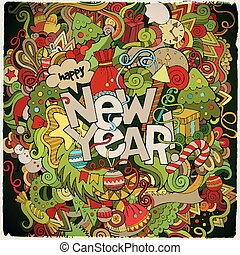 lettering, communie, nieuw, hand, achtergrond, jaar, doodles