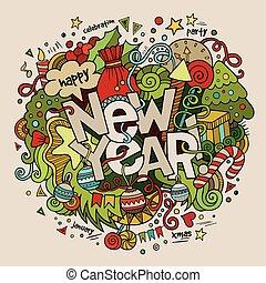 lettering, communie, nieuw, hand, achtergrond., jaar, doodles