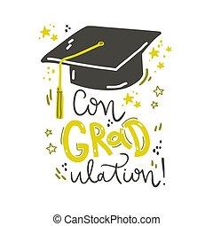lettering, congraulation., ilustração, cap., vetorial, graduação, composição