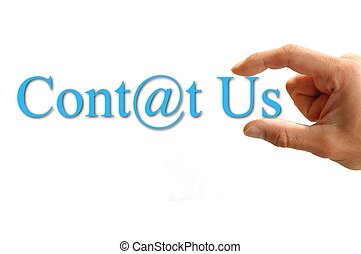 Lettering Contact US - A Hand hold the words contact us....