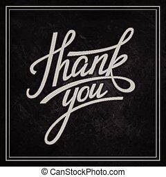 lettering, danken, you., vector, illustratie