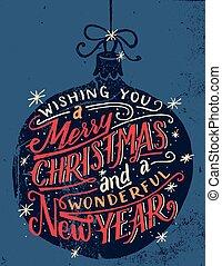 lettering, desejando, mão, feliz, tu, natal