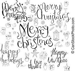 lettering, diferente, jogo, antigas, inverno, caligrafia, festivo, frases, snowflakes, year., símbolos, holidays., pretas, white., feliz, novo, natal, feliz, estilo