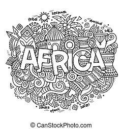 lettering, elementos, áfrica, mão, étnico, doodles