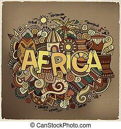 lettering, elementos, áfrica, mão, fundo, doodles