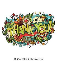 lettering, elementos, agradecer, mão, fundo, doodles, tu